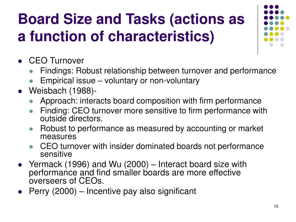 Board Size and Tasks (actions as a function of characteristics)