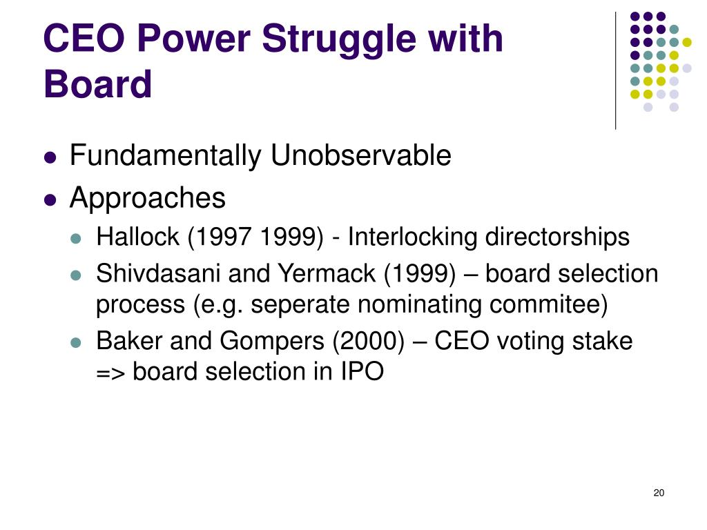 CEO Power Struggle with Board