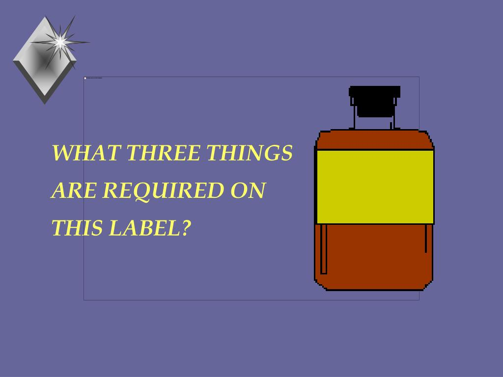 WHAT THREE THINGS ARE REQUIRED ON THIS LABEL?