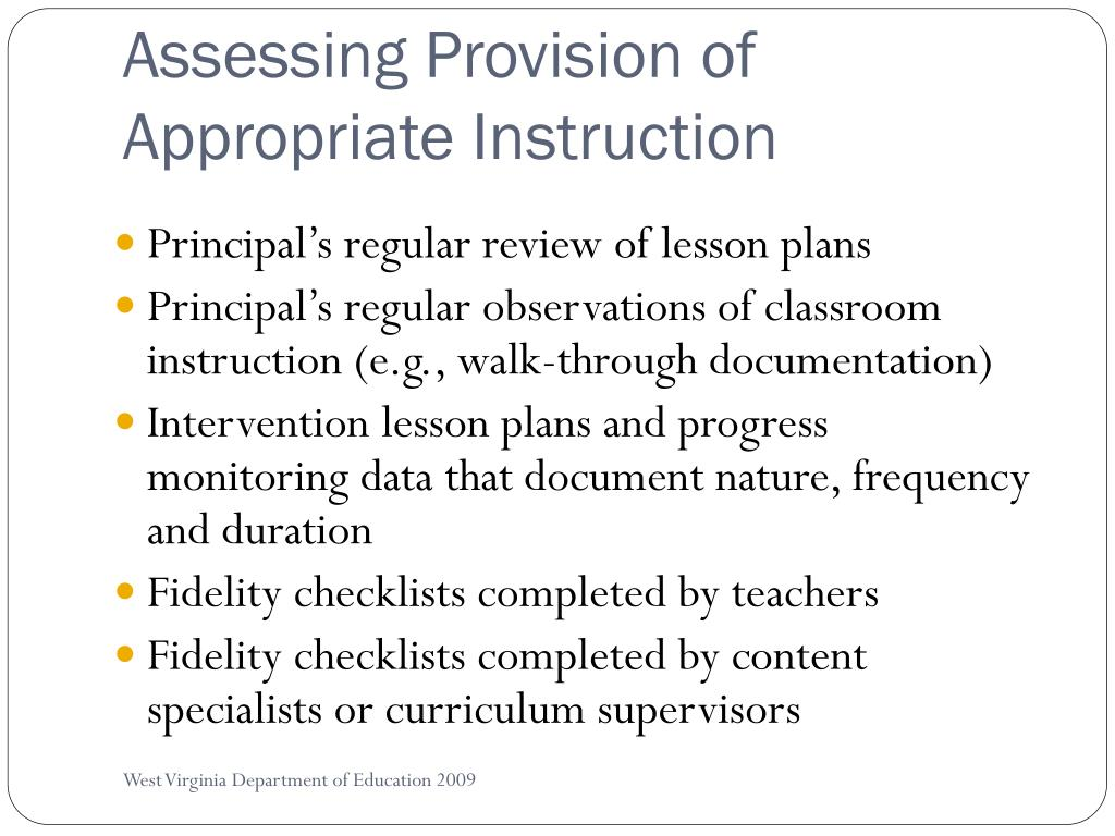 Assessing Provision of Appropriate Instruction