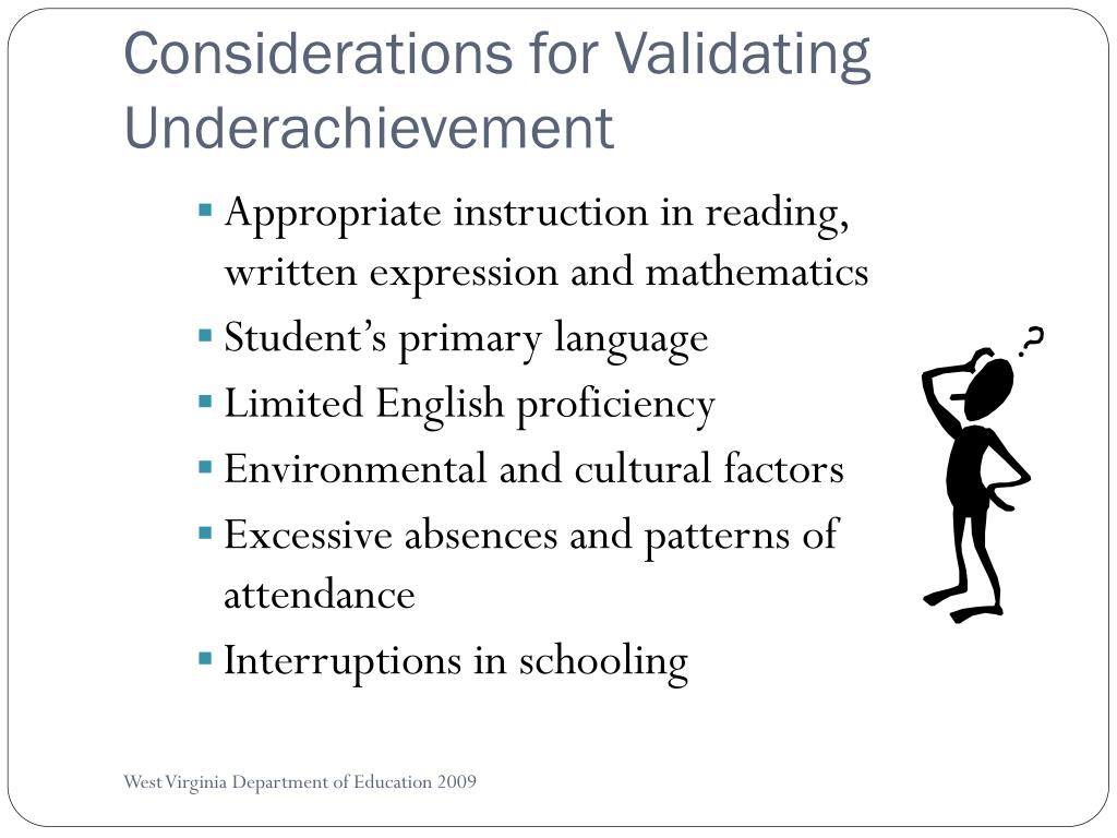 Considerations for Validating Underachievement