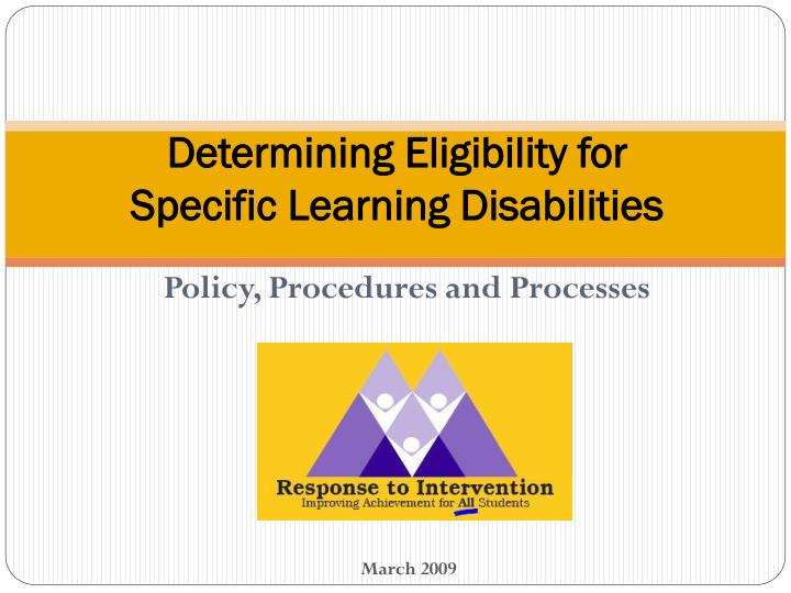 Determining eligibility for specific learning disabilities l.jpg