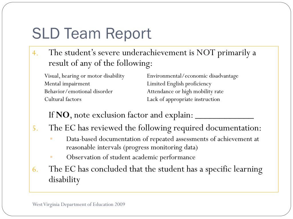 SLD Team Report