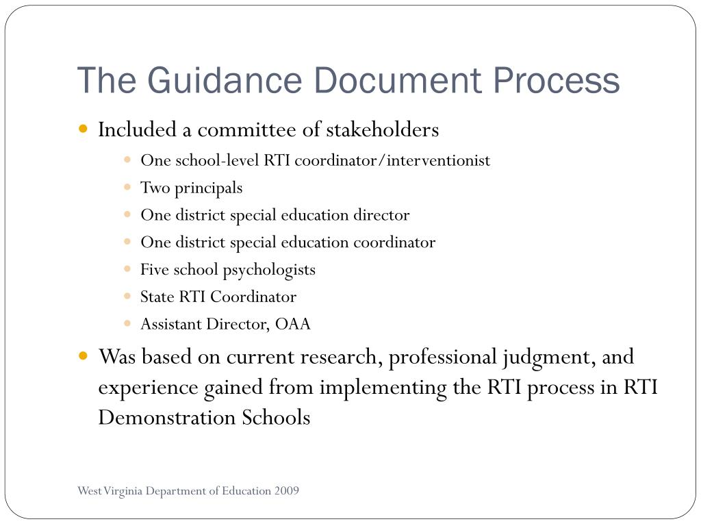 The Guidance Document Process