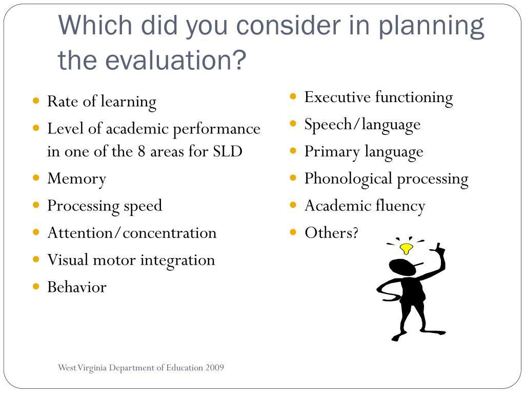 Which did you consider in planning the evaluation?