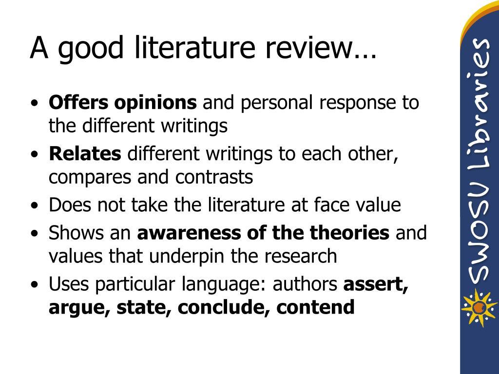 A good literature review…