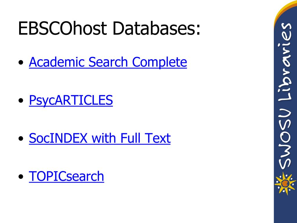 EBSCOhost Databases: