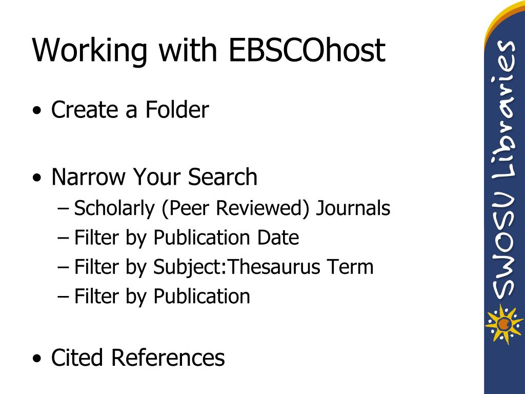 Working with EBSCOhost