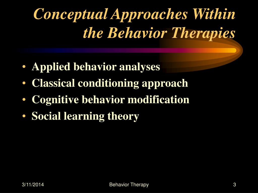 Conceptual Approaches Within the Behavior Therapies