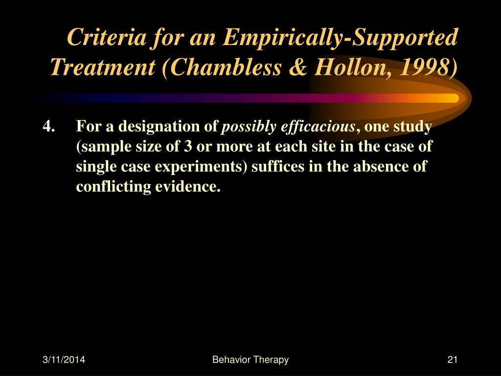 Criteria for an Empirically-Supported Treatment (Chambless & Hollon, 1998)