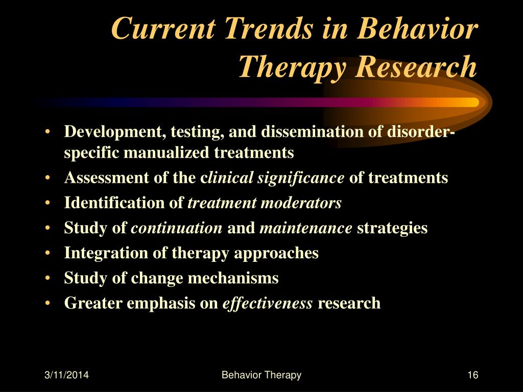 Current Trends in Behavior Therapy Research