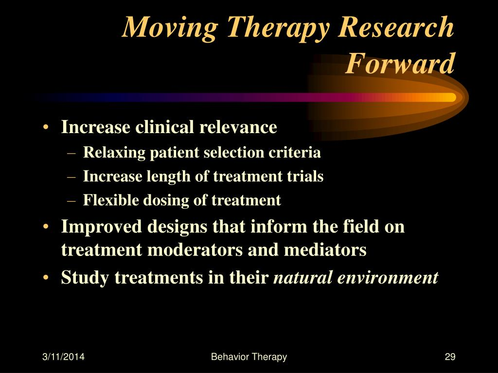 Moving Therapy Research Forward