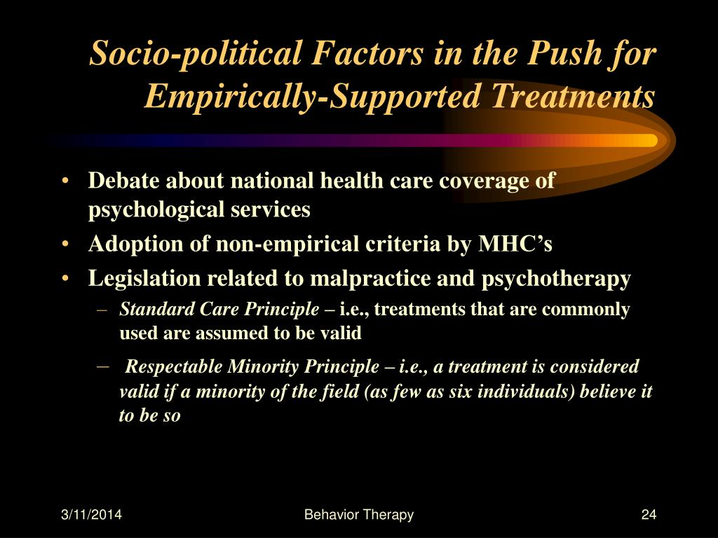 Socio-political Factors in the Push for Empirically-Supported Treatments
