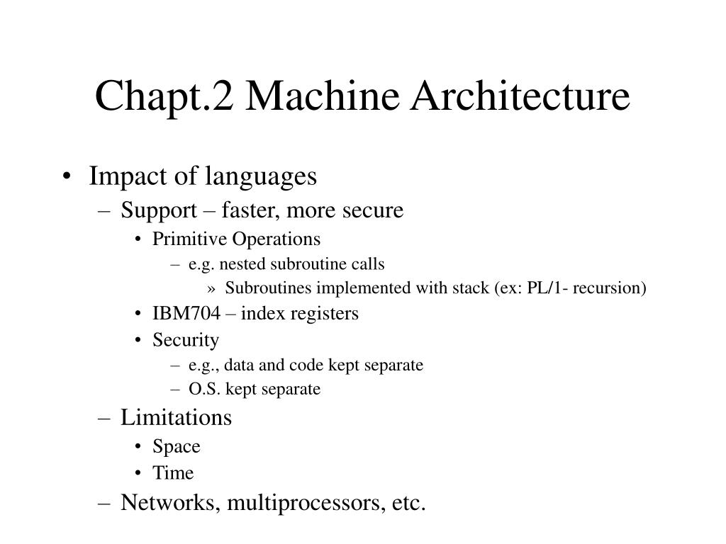 Chapt.2 Machine Architecture