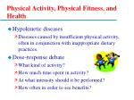 physical activity physical fitness and health