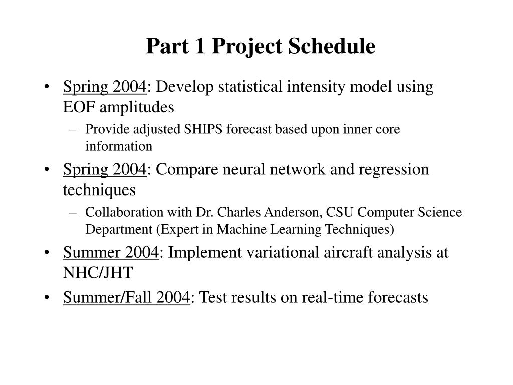 Part 1 Project Schedule