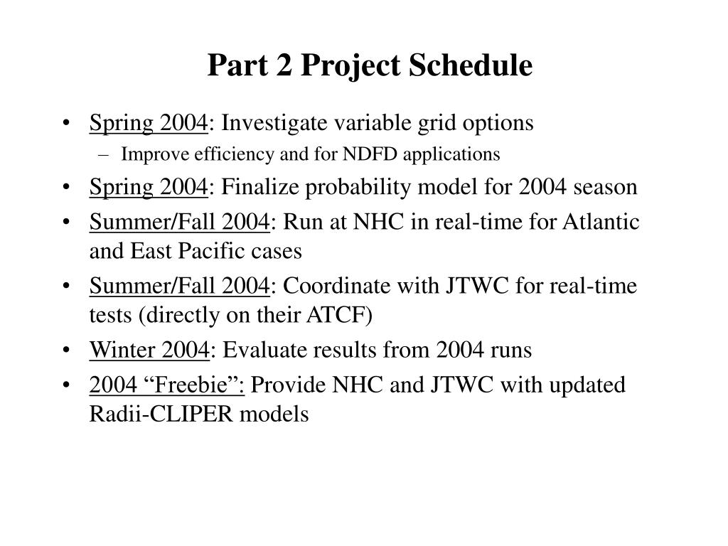 Part 2 Project Schedule