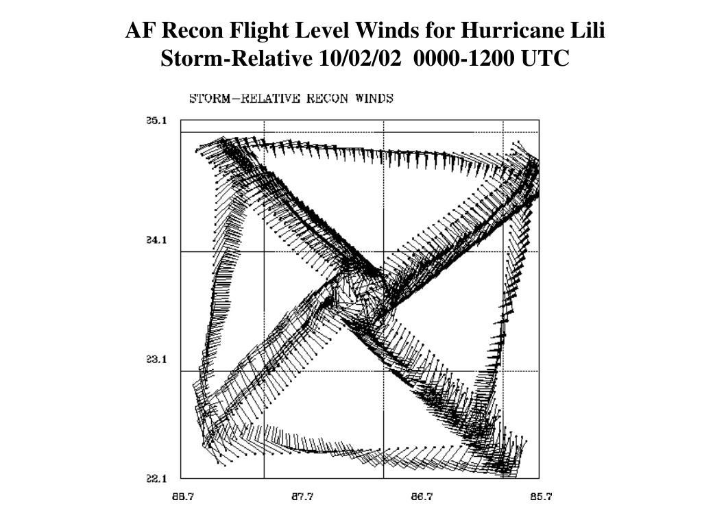 AF Recon Flight Level Winds for Hurricane Lili