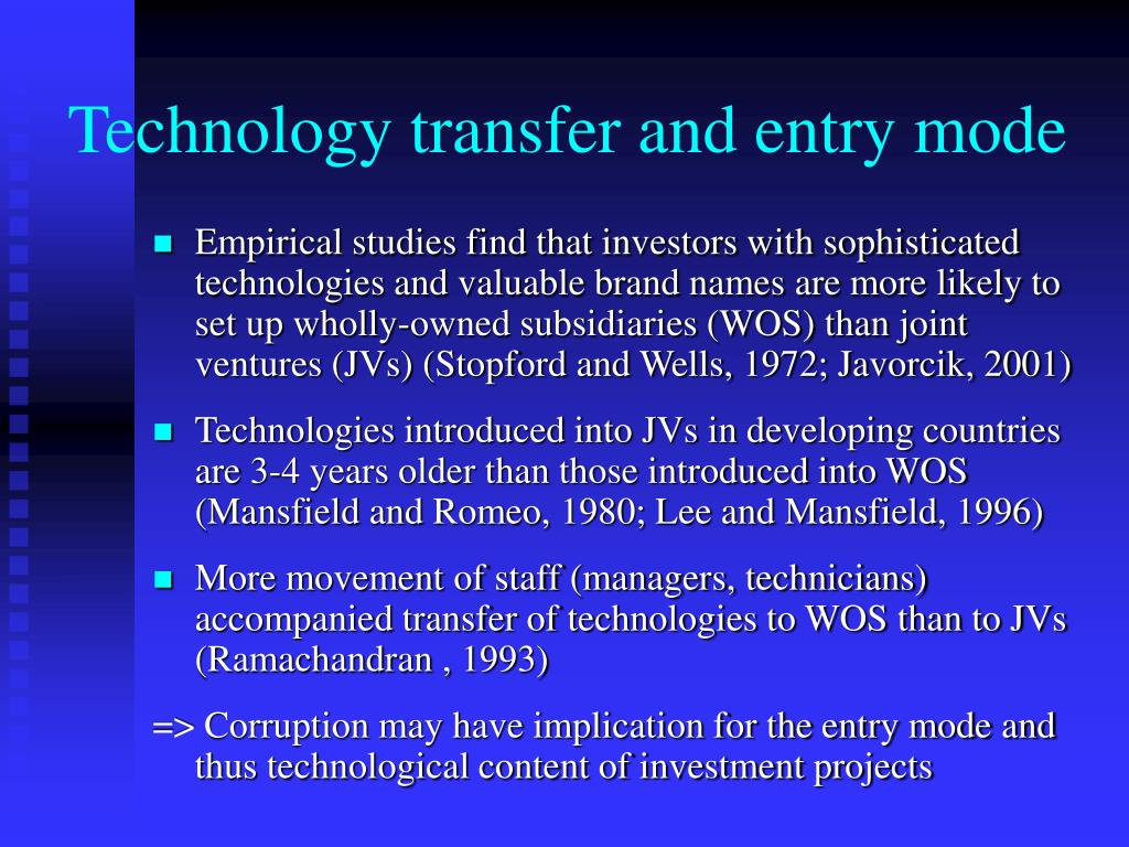 Technology transfer and entry mode