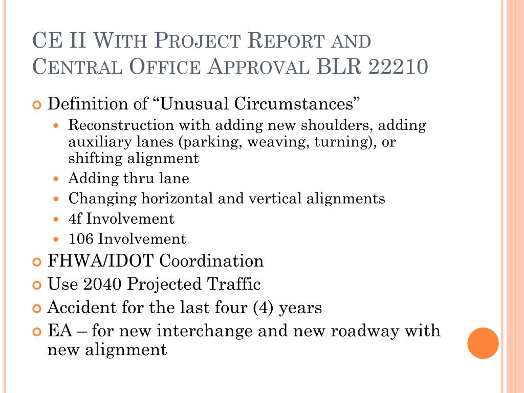 CE II With Project Report and Central Office Approval BLR 22210