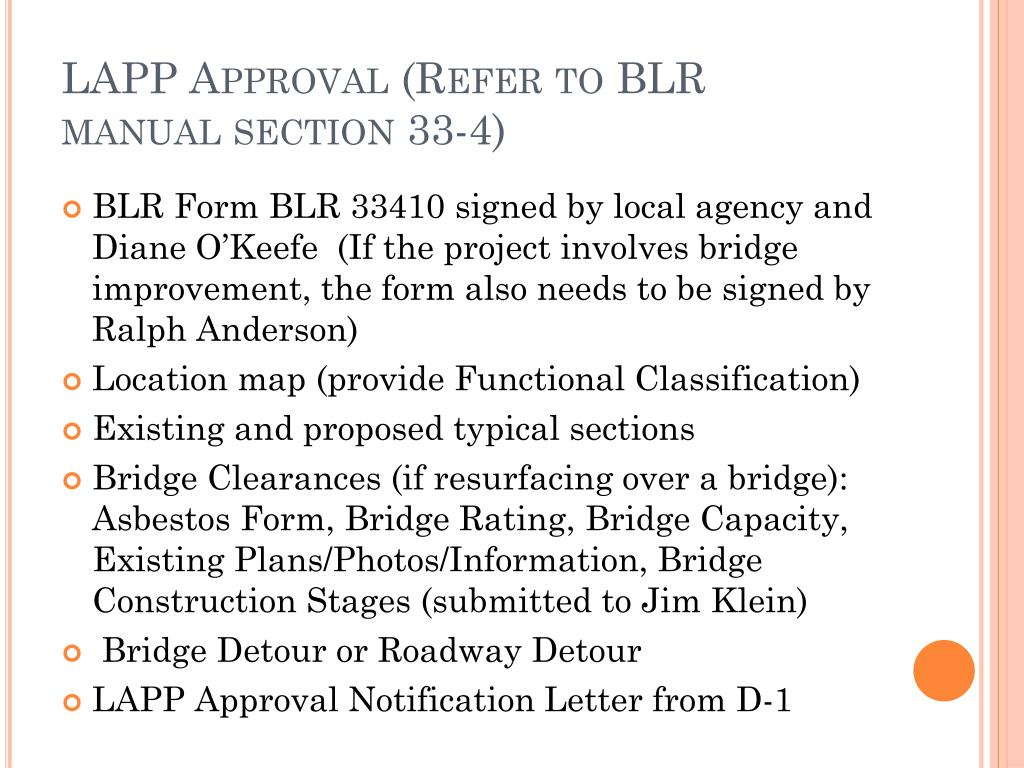LAPP Approval (Refer to BLR manual section 33-4)