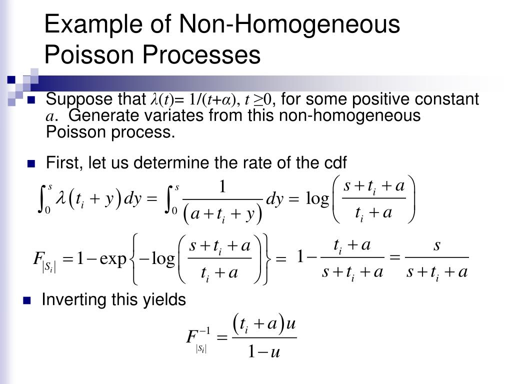 Example of Non-Homogeneous Poisson Processes