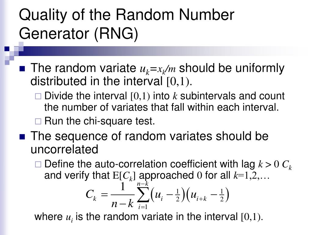 Quality of the Random Number Generator (RNG)