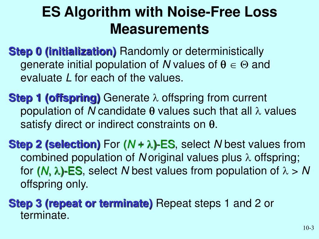 ES Algorithm with Noise-Free Loss Measurements