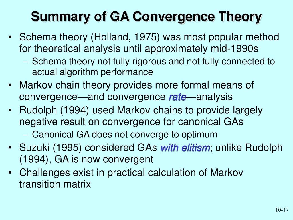 Summary of GA Convergence Theory