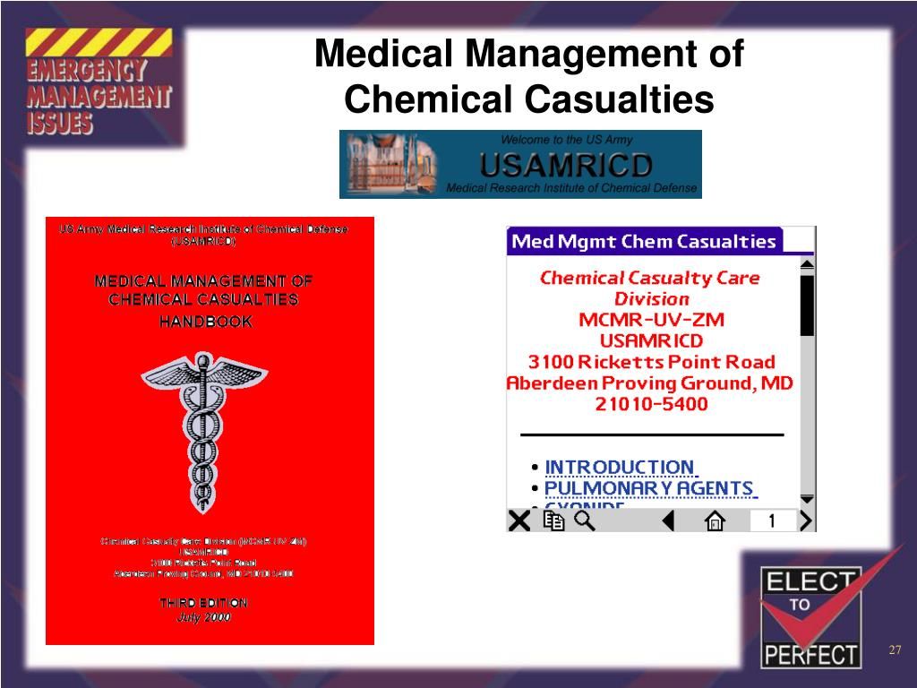 Medical Management of Chemical Casualties