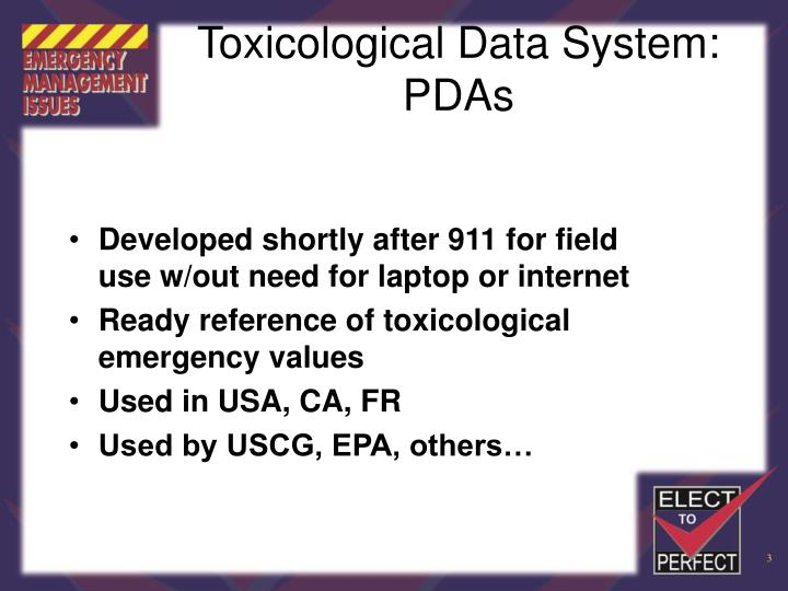 Toxicological data system pdas3