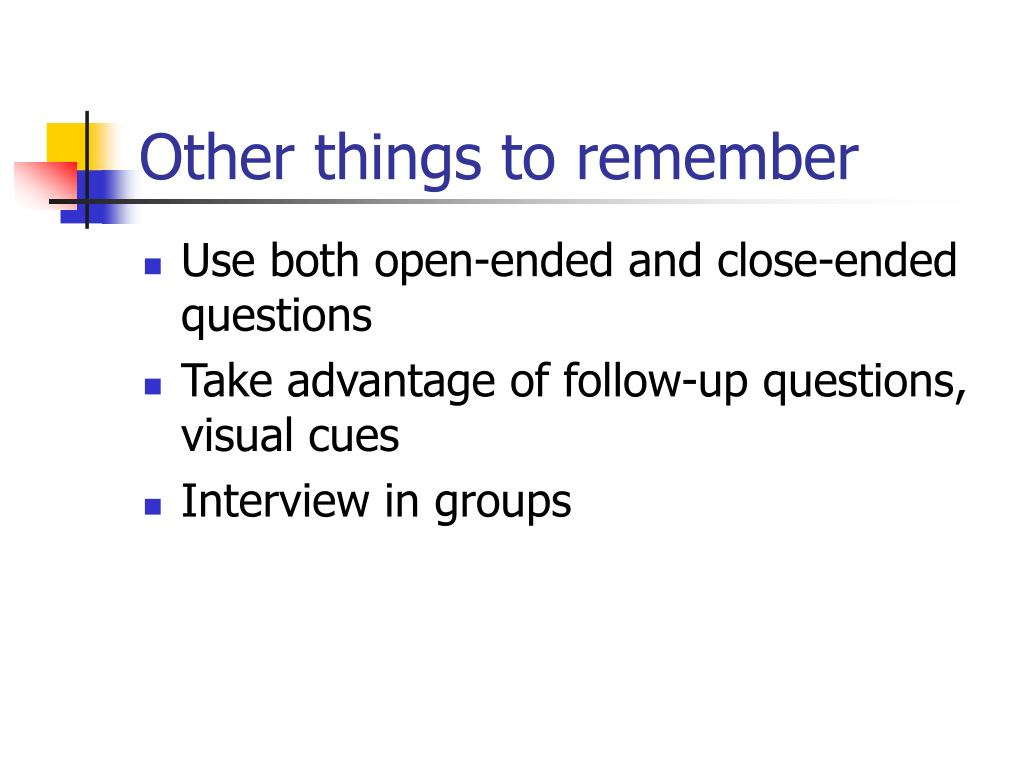 Other things to remember