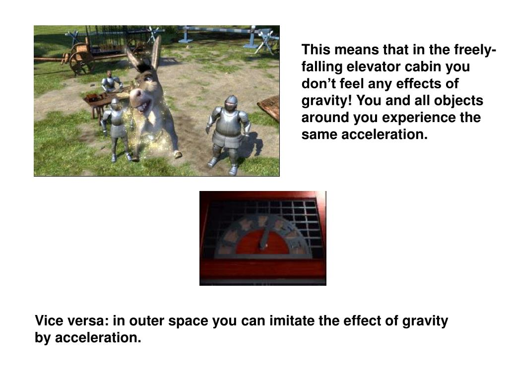 This means that in the freely-falling elevator cabin you don't feel any effects of gravity! You and all objects around you experience the same acceleration.