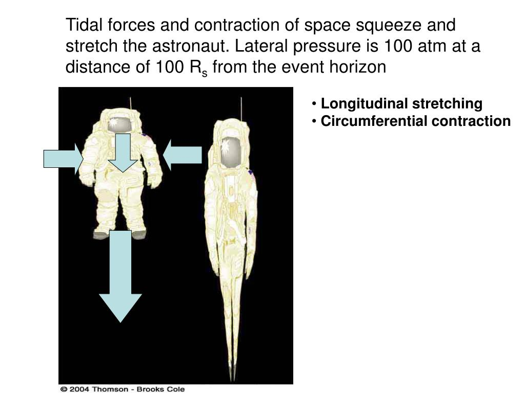 Tidal forces and contraction of space squeeze and stretch the astronaut. Lateral pressure is 100 atm at a distance of 100 R