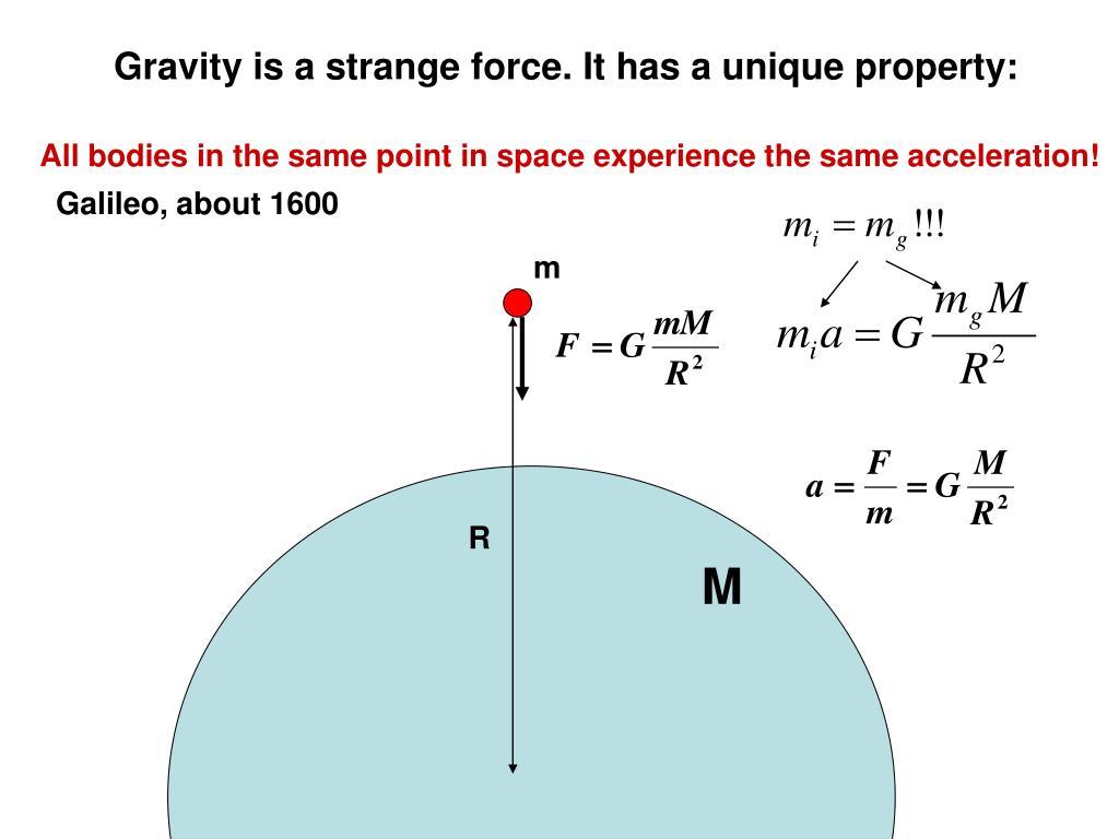 Gravity is a strange force. It has a unique property:
