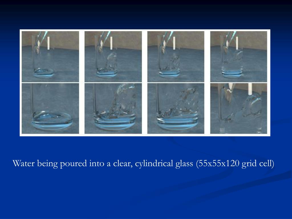 Water being poured into a clear, cylindrical glass (55x55x120 grid cell)