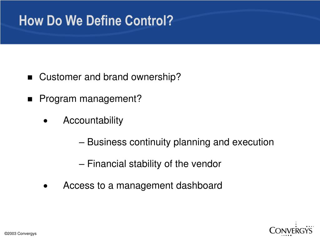 How Do We Define Control?