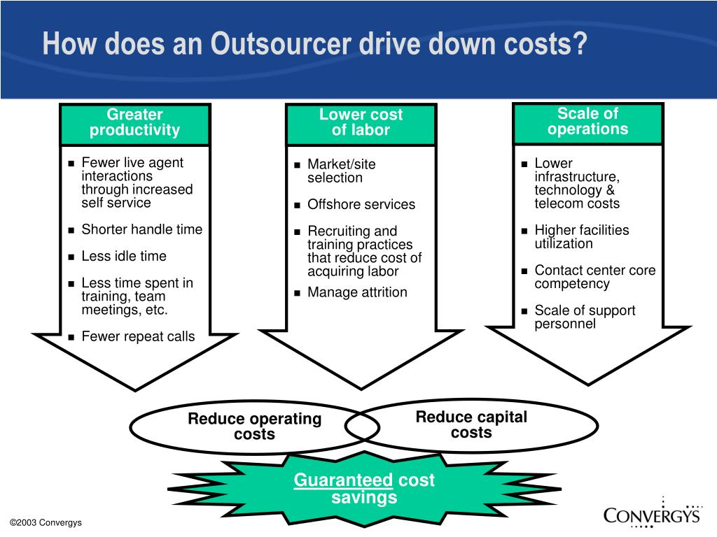 How does an Outsourcer drive down costs?