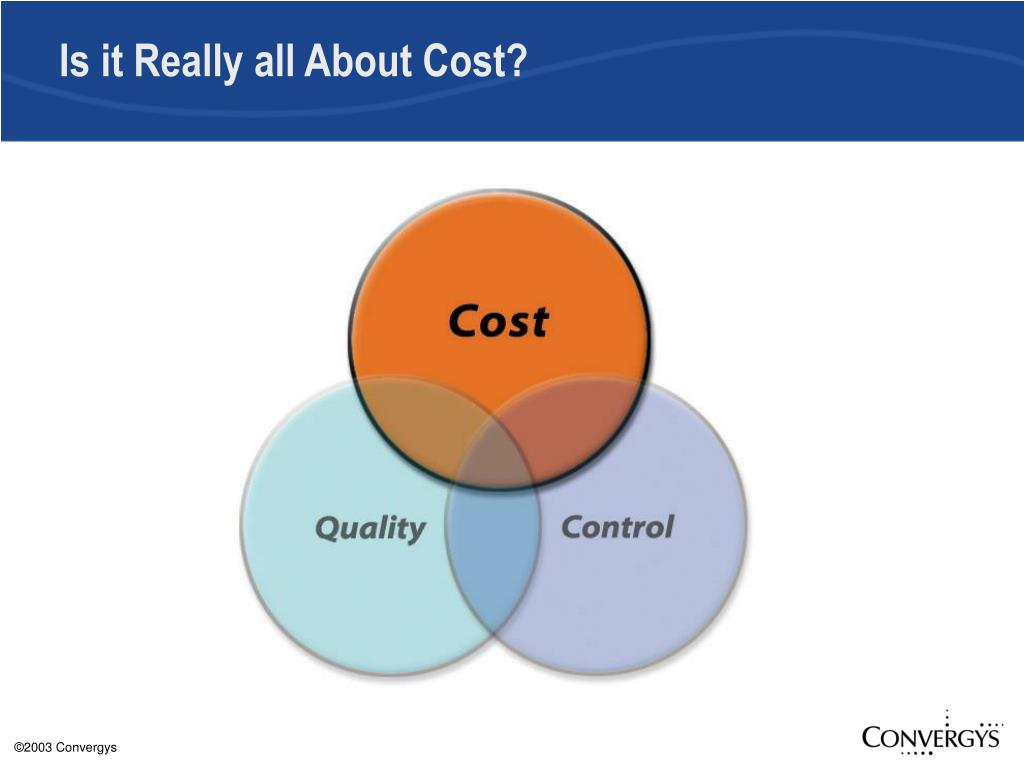 Is it Really all About Cost?