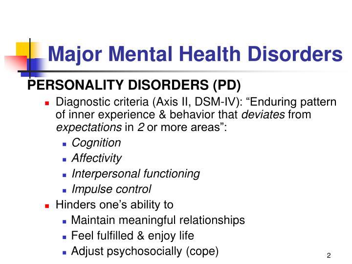 Major Mental Health Disorders