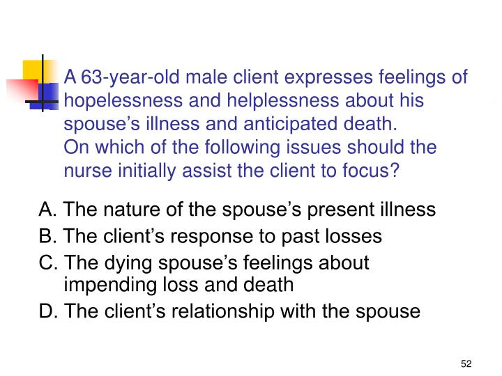 A 63-year-old male client expresses feelings of hopelessness and helplessness about his spouse's illness and anticipated death.