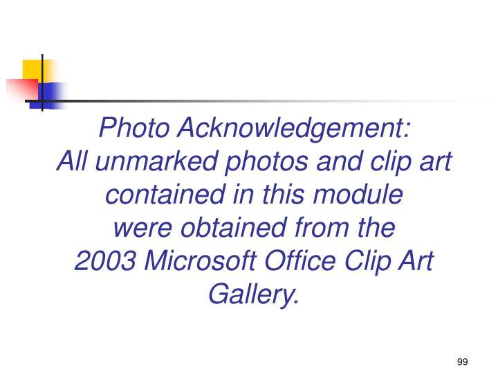 Photo Acknowledgement: