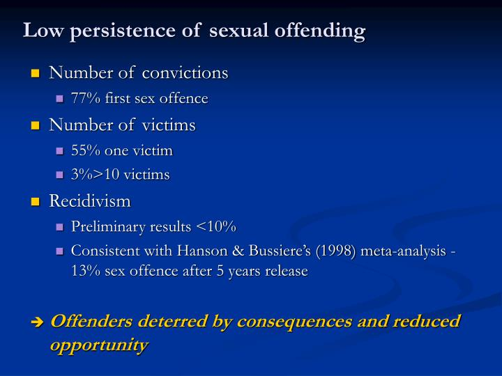 Low persistence of sexual offending