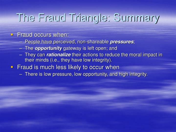 The Fraud Triangle: Summary