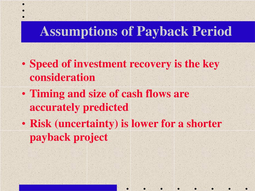 Assumptions of Payback Period