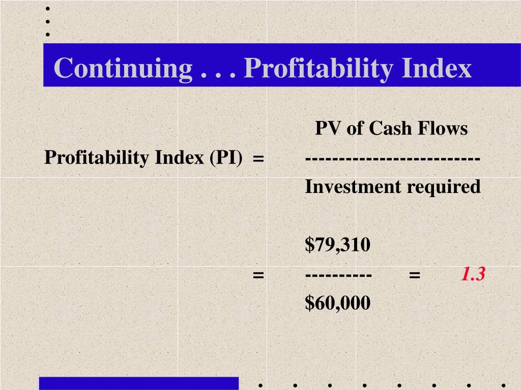 Continuing . . . Profitability Index