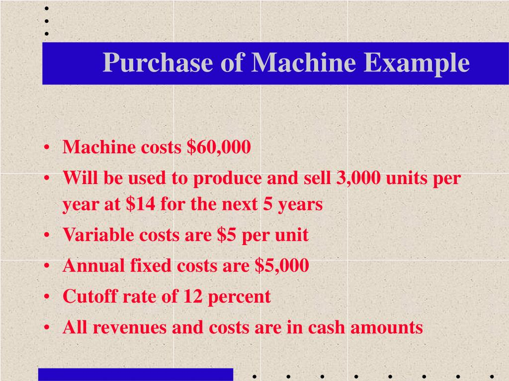 Purchase of Machine Example