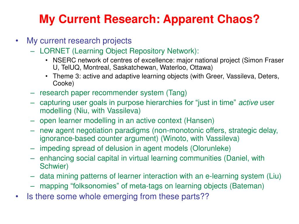 My Current Research: Apparent Chaos?