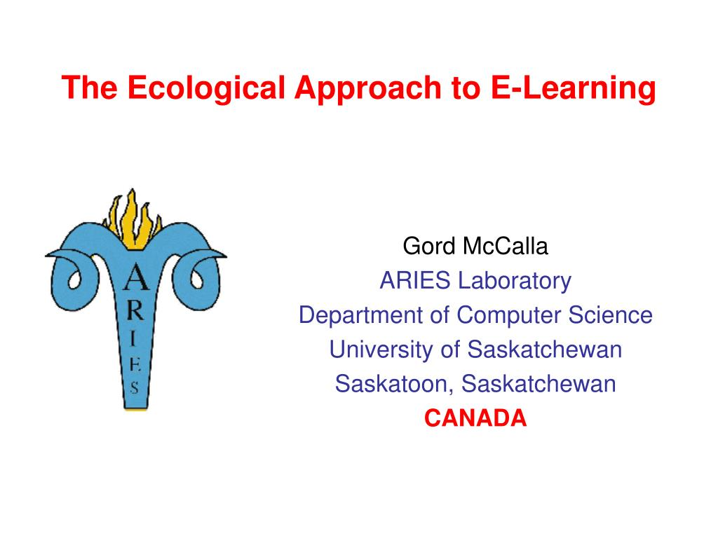 The Ecological Approach to E-Learning