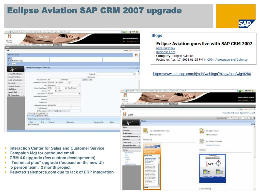 Eclipse Aviation SAP CRM 2007 upgrade